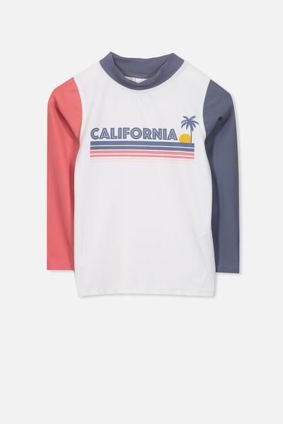 Fraser Long Sleeve Rash Vest, WHITE/CALIFORNIA SUN