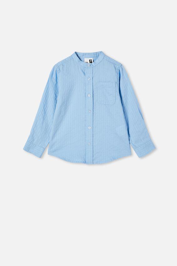 Grandpa Collar Prep Shirt, SKY HAZE TEXTURED STRIPE