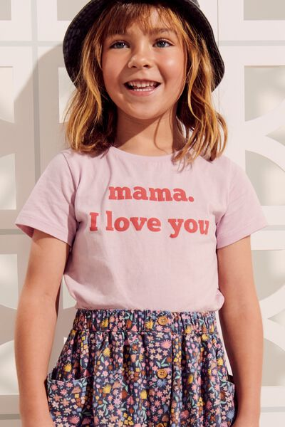 Penelope Short Sleeve Tee, LAVENDAR FOG/MAMA I LOVE YOU/MAX