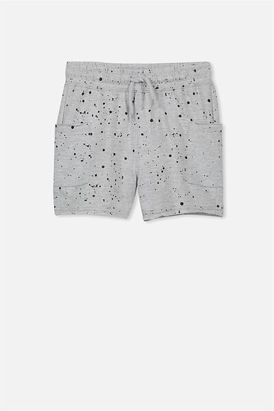 Henry Slouch Short, LT GREY MARLE/PAINT SPLATTER