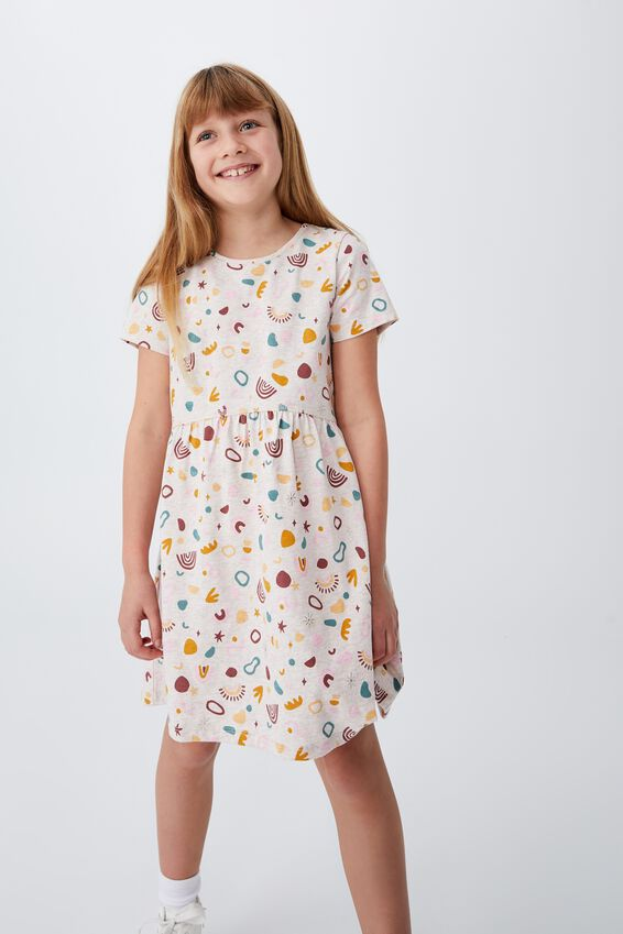 Freya Short Sleeve Dress, BLUSH MARLE/DEL AMO ABSTRACT