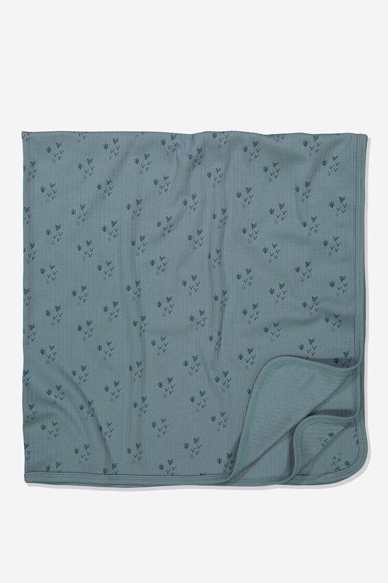 Newborn Blanket, DEEP POOL BLUE/FOREST
