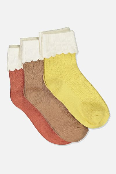Kids 3 Pk Fashion Crew Socks, POINTELLE YELLOW/BROWN AMBER