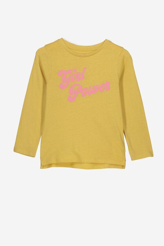 Penelope Long Sleeve Tee, CORN SILK/GIRL POWER/SET IN