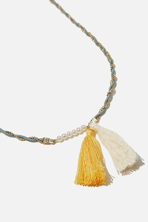 Mixed Beaded Necklace, TASSEL AQUA TWIST