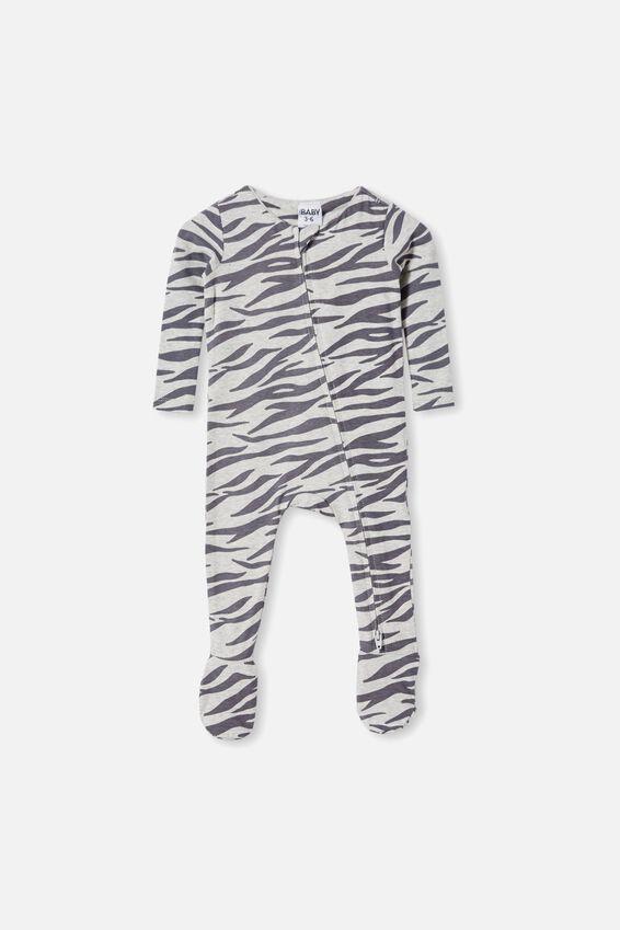 The Snug Long Sleeve Zip Romper, CLOUD MARLE/MARTY ZEBRA