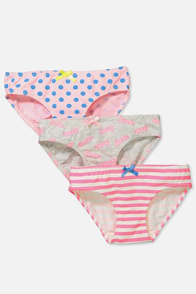 Girls 3Pk Licence Undies, BARBIE MIX