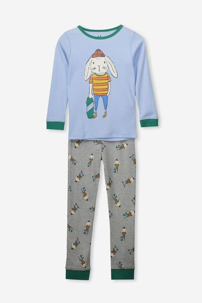 Harry Long Sleeve Boys PJ Set, SKATING BUNNY