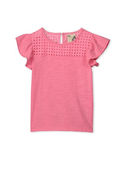 Anna Short Sleeve Broderie Top, HIGHLIGHTER PINK