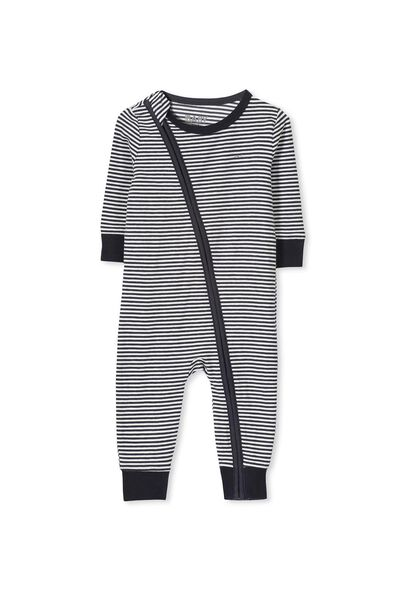 Mini Zip Footless One Piece, INDIAN INK/VANILLA