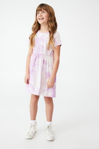 Freya Short Sleeve Dress, PALE VIOLET/TIE DYE