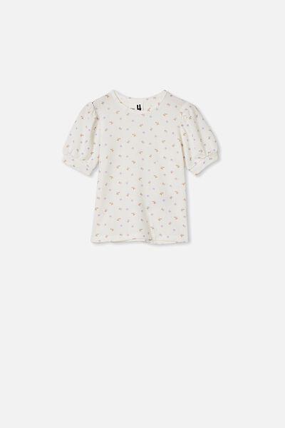 Jasmine Puff Sleeve Top, VANILLA/DITSY FLORAL
