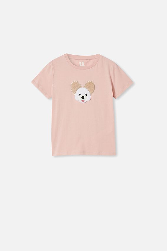 Stevie Short Sleeve Embellished Tee, ZEPHYR/ FURRY PUPPY