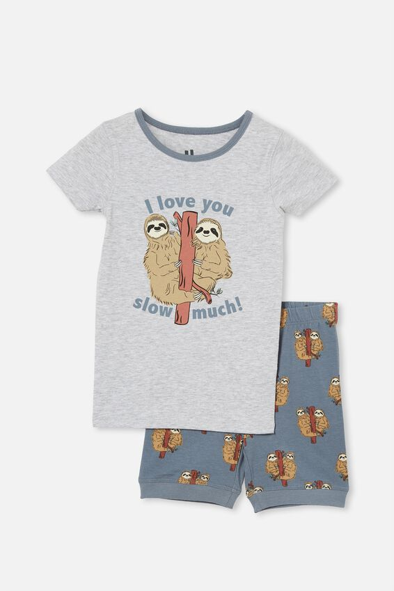 Ted Short Sleeve Pyjama Set, SLOTH LOVE SUMMER GREY MARLE