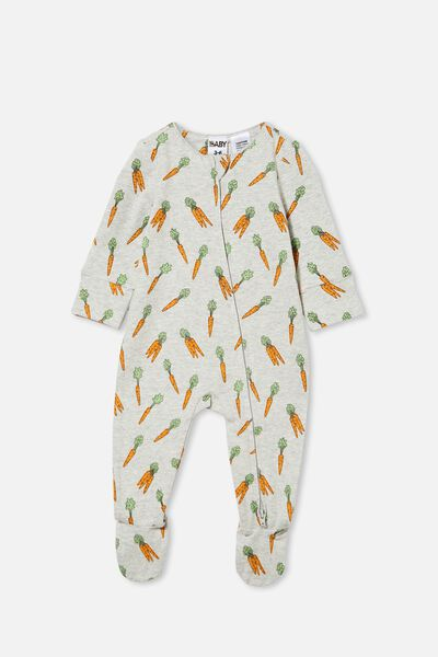 The Long Sleeve Zip Romper, CLOUD MARLE/CRAZY CARROTS