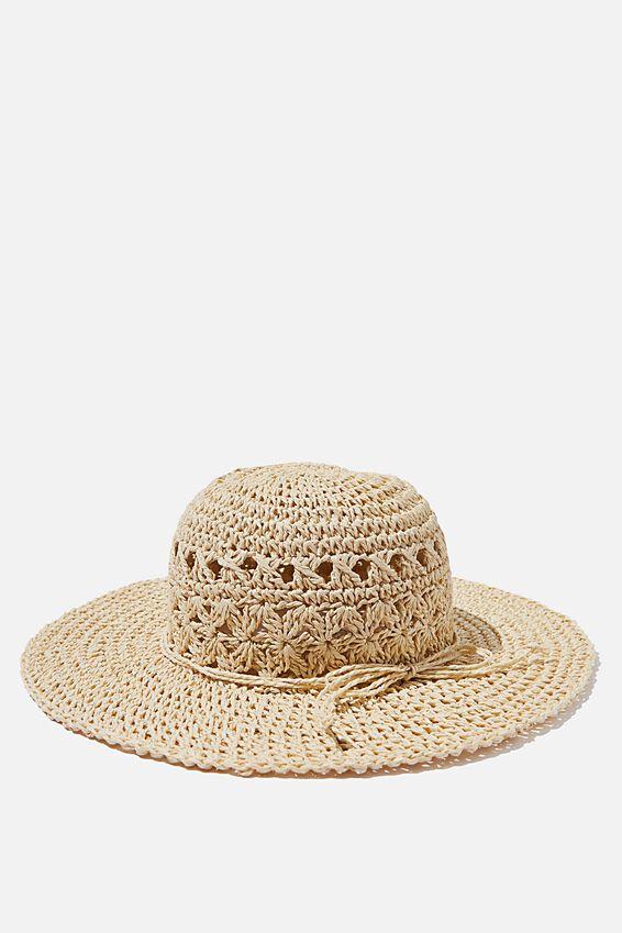 Floppy Hat, CROCHET NATURAL