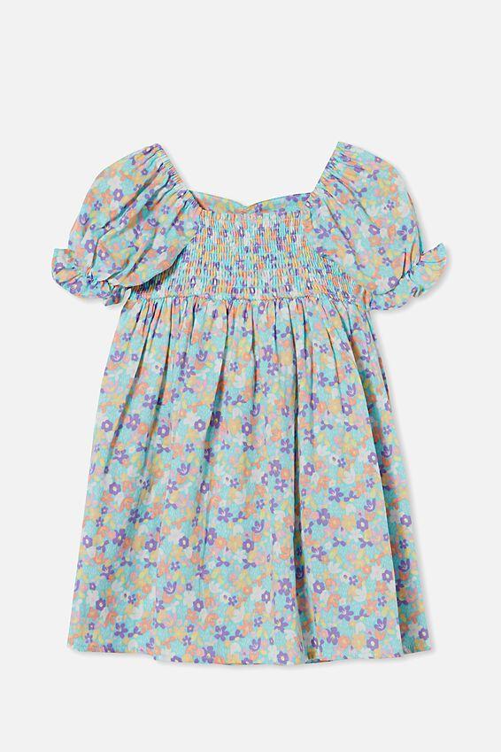 Samantha Short Sleeve Dress, DREAM BLUE PAPERCUT FLORAL