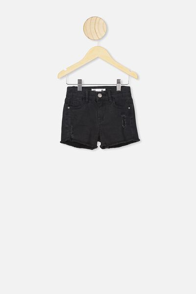 Cleo Raw Edge Denim Short, VINTAGE WASHED BLACK