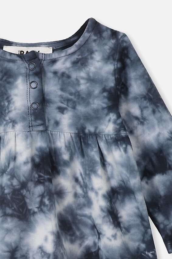 Molly Long Sleeve Dress, BLACK TIE DYE