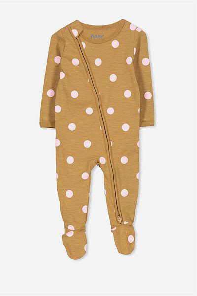 Sleep Mini Zip All In One Jumpsuit, BURNT BISCUIT/SPOT