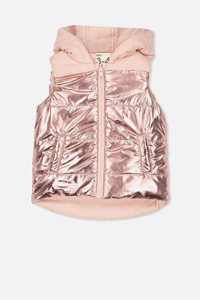 Rose Reversible Puffer Vest, SILVER PINK/ROSE GOLD
