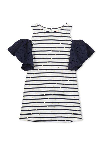Matilda Frill Dress, PEACOAT STRIPE/GOLD DOT