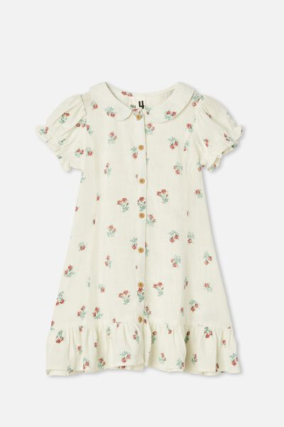 Evelyn Short Sleeve Dress, VANILLA POSEY FLORAL