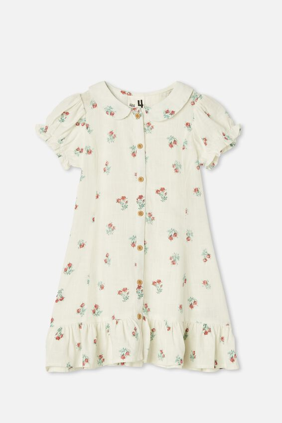 Evelyn Short Sleeve Dress, VANILLA POSEY FLORAL