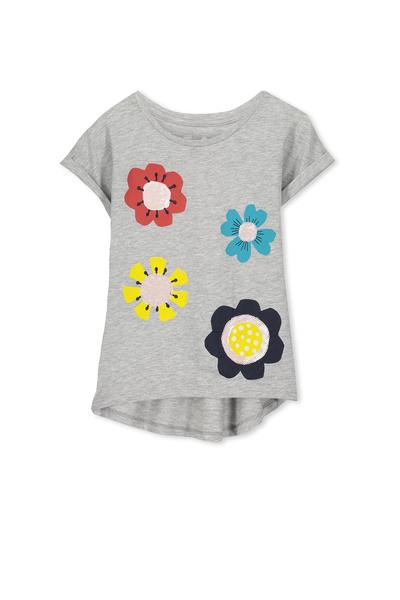 Anna Short Sleeve Roll Up Tee, LIGHT GREY MARLE/PAPERCUT FLOWERS