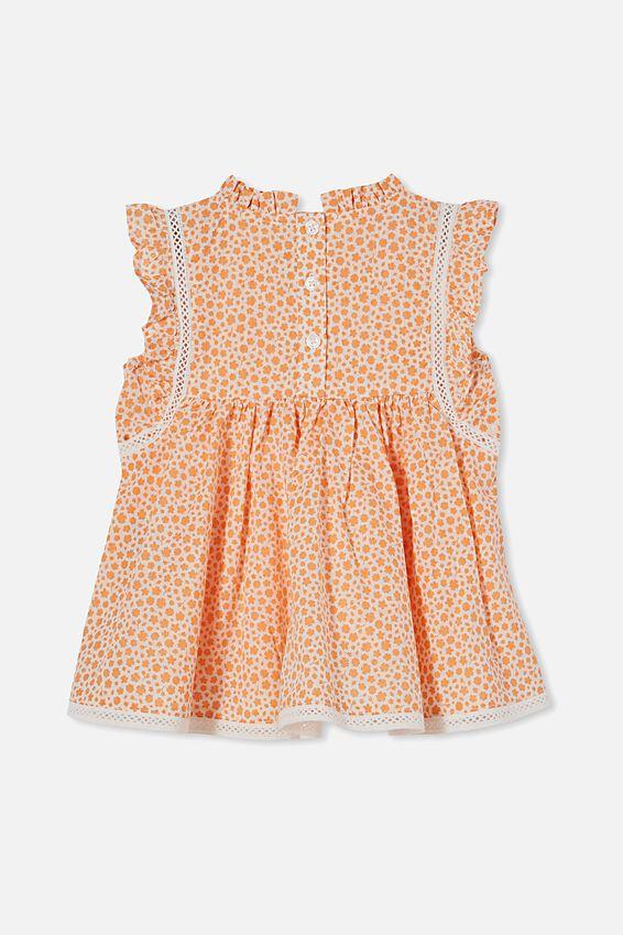 Tess Flutter Sleeve Dress, VANILLA/MELON POP EDITH FLORAL
