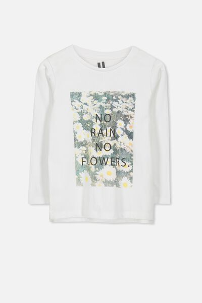 Penelope Long Sleeve Tee, WHITE/NO RAIN NO FLOWERS/SET IN