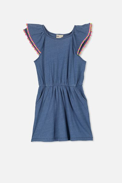 Beau Flutter Sleeve Dress, INDIGO/RAINBOW POM POM