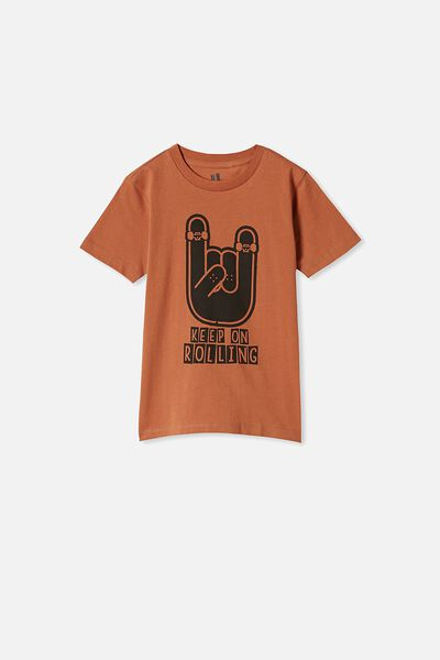 Max Skater Short Sleeve Tee, AMBER BROWN/ KEEP ROLLING
