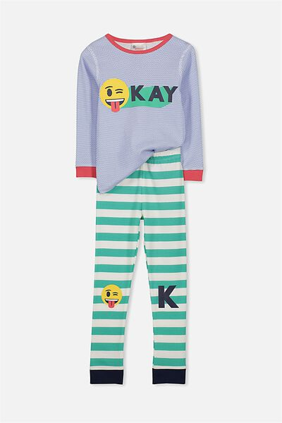 Harry Long Sleeve Boys PJ Set, EMOJI OK