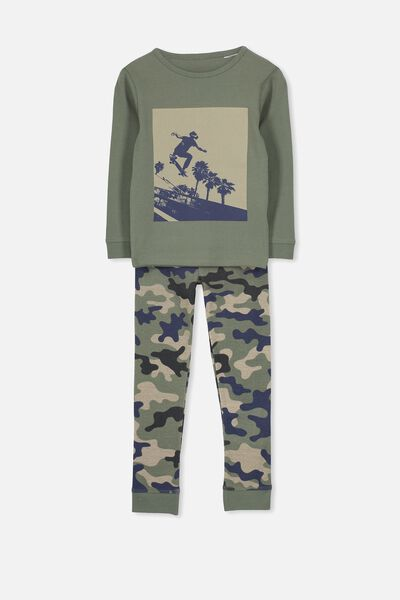 Harry Long Sleeve Boys PJ Set, CAMO SKATER