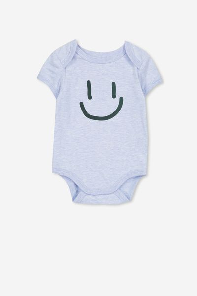 Mini Short Sleeve Bubbysuit, PALE BLUE MARLE/SMILEY FACE