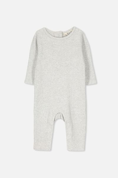 The Rib Snap Romper, CLOUD MARLE
