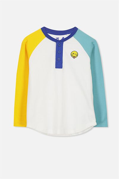 Bentley Henley Long Sleeve Tee, YELLOW BLUE SPLICE SMILEY/RAGLAN