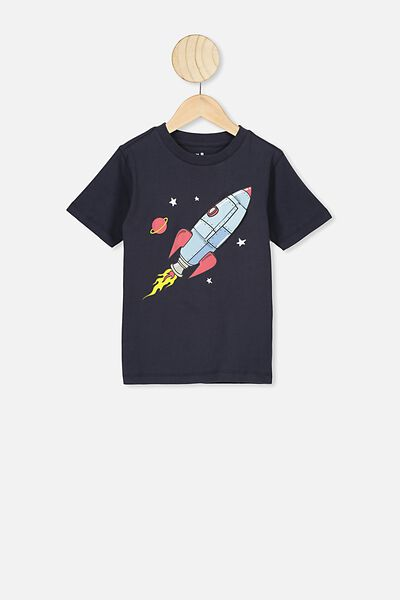 The Downtown Short Sleeve Tee, INDIAN INK/ROCKET SHIP