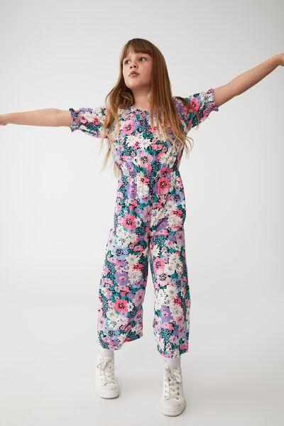 Bonnie Puff Sleeve Jumpsuit, PHANTOM/FLOWER GARDEN