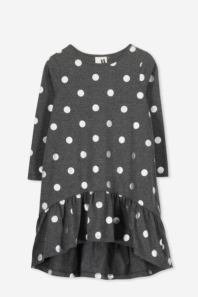 Joss Long Sleeve Dress, CHARCOAL MARLE/SPOT