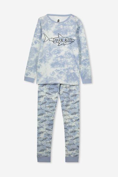 Harrison Long Sleeve Boys Pyjamas, SHARK BOSS