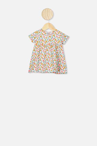 Milly Short Sleeve Dress, WHITE/PETAL DAZE