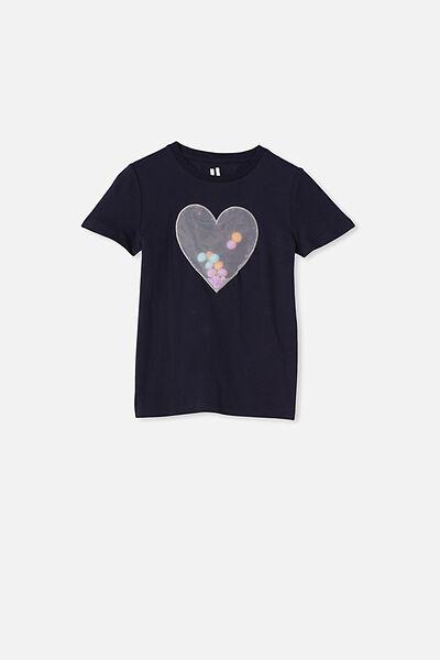 Stevie Short Sleeve Embellished Tee, INDIAN INK/APPLIQUED HEART