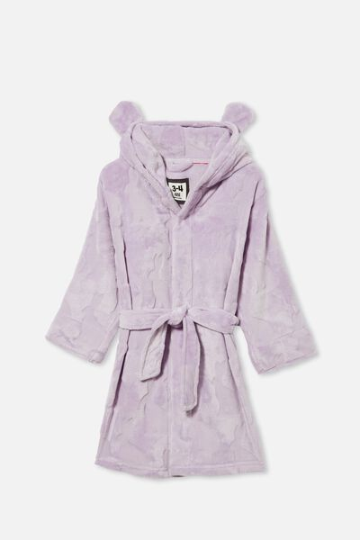 Girls Hooded Long Sleeve Gown, VINTAGE LILAC