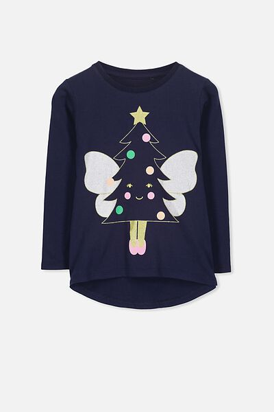 Penelope Long Sleeve Curved Hem, PEACOAT/FAIRY TREE