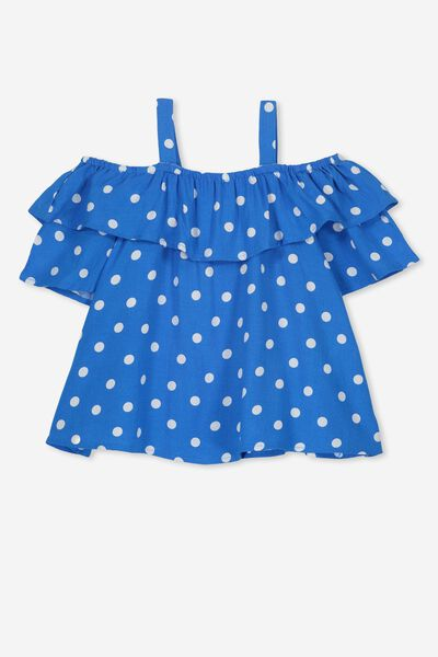Sadie Frill Top, BRILLIANT BLUE SPOT