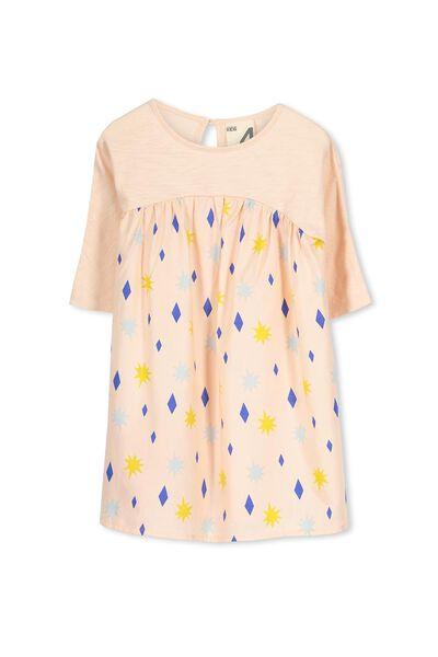 Tess 3/4 Sleeve Dress, WINTER PINK/STARBURST