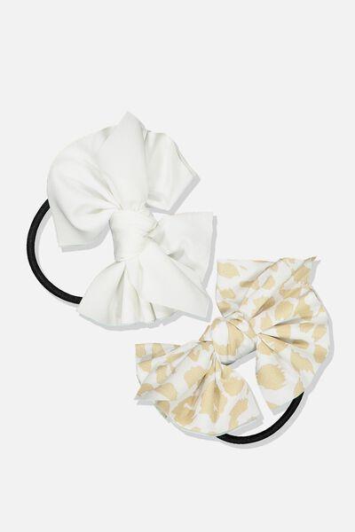 Bow Hair Tie, VANILLA/ANIMAL