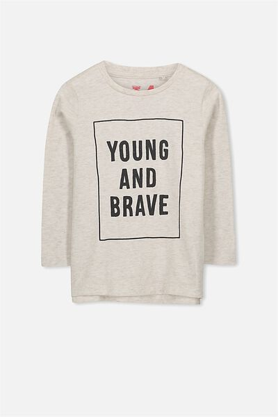 Tom Long Sleeve Tee, OATMEAL NEP YOUNG AND BRAVE/SIS